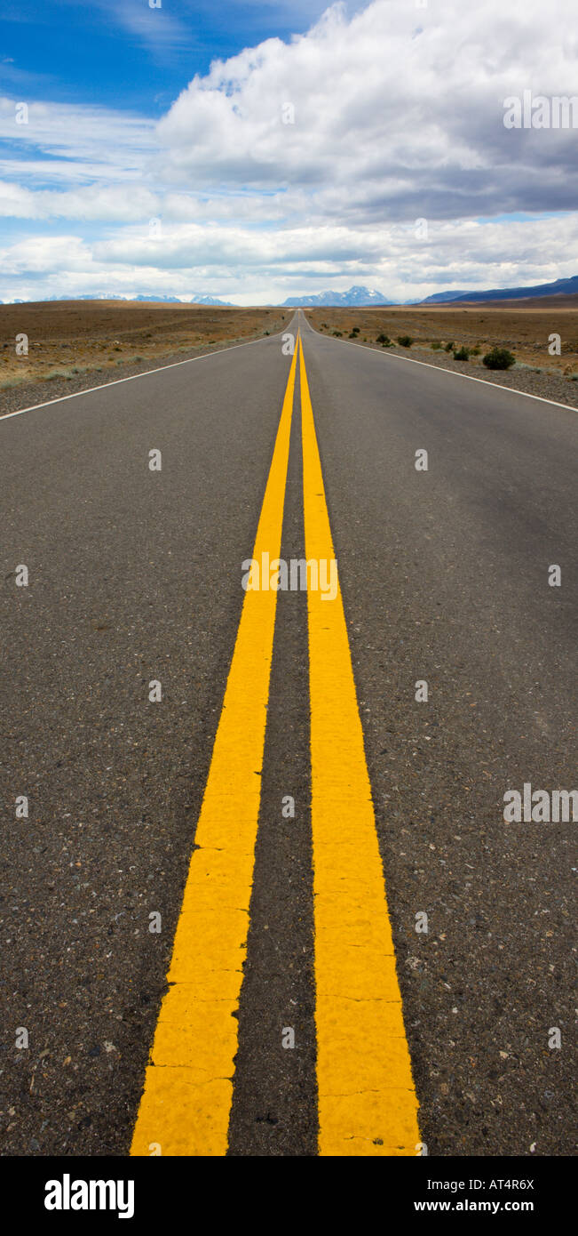 Famous Patagonian highway Route 40 cuts through the Steppe landscape, Argentina - Stock Image
