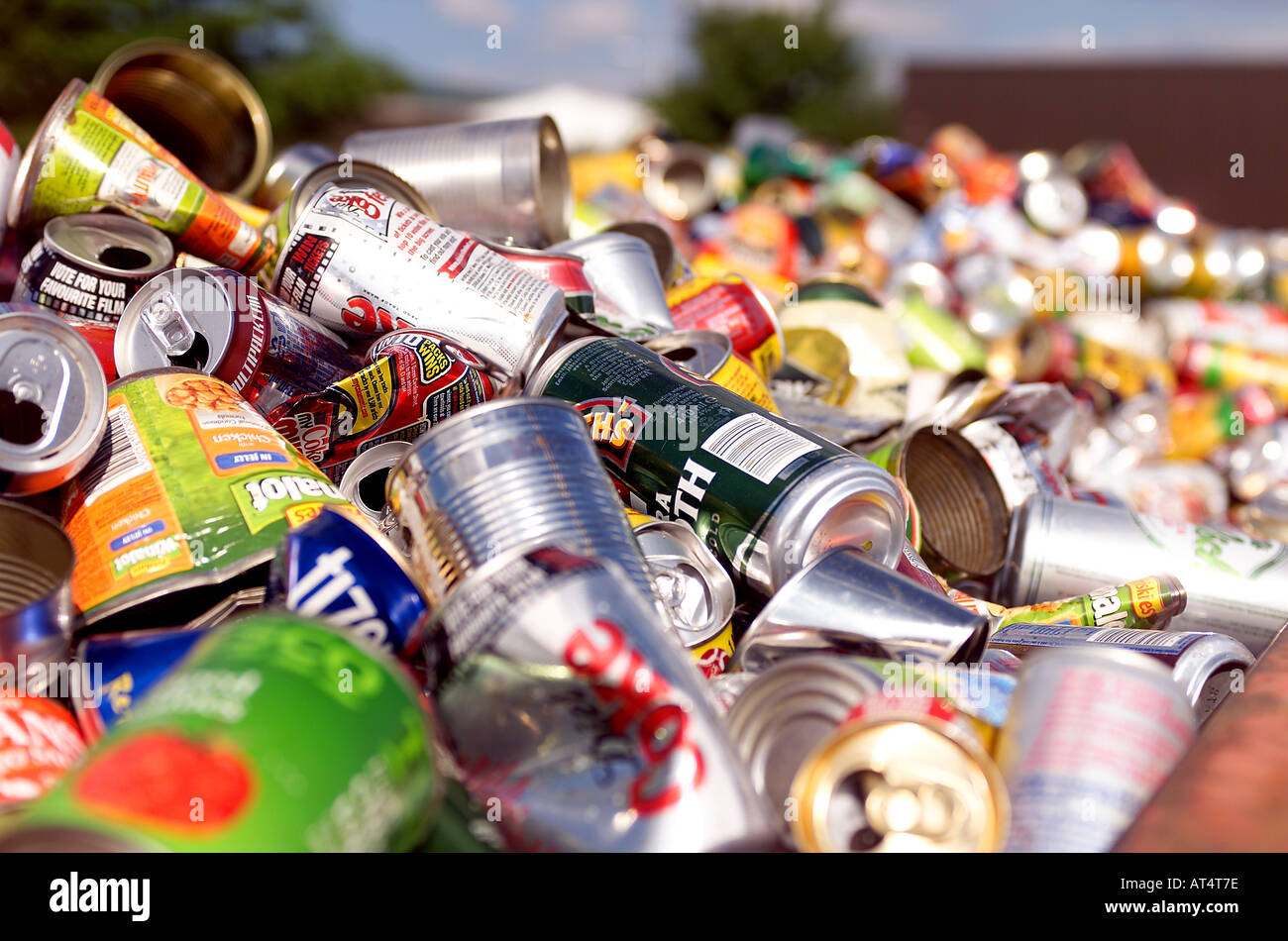 Recycled Aluminium drinks cans - Stock Image