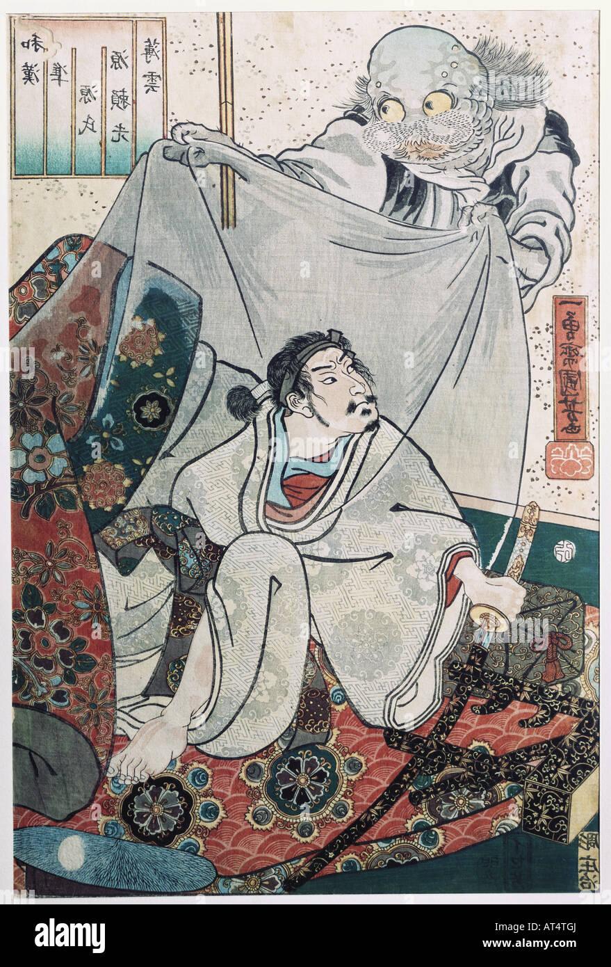fine arts, Kuniyoshi, Utagawa, (1798 - 1861), 'Minomoto Raiko and the earth spider', coloured woodcut, Japan, - Stock Image