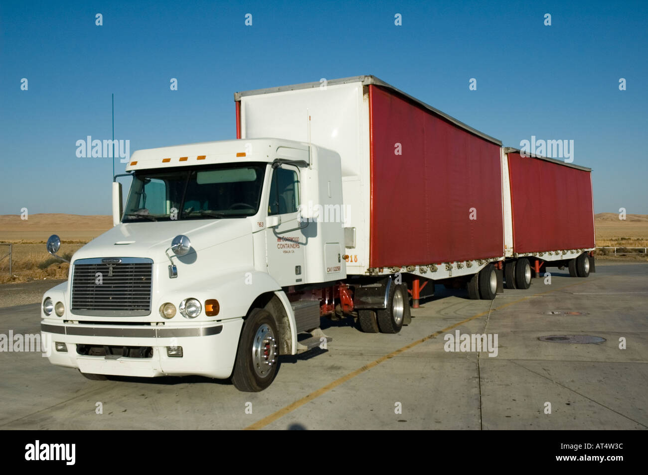 truck waiting in parking lot - Stock Image