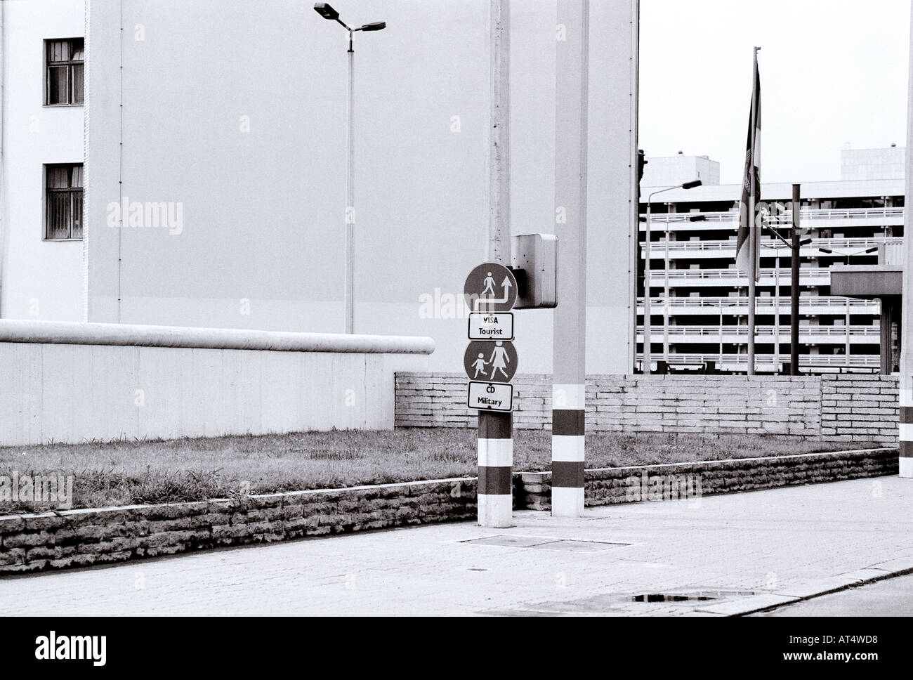 Checkpoint Charlie American Sector during the Cold War in West Berlin in Germany in Europe. History Historical Reportage Culture City Travel - Stock Image