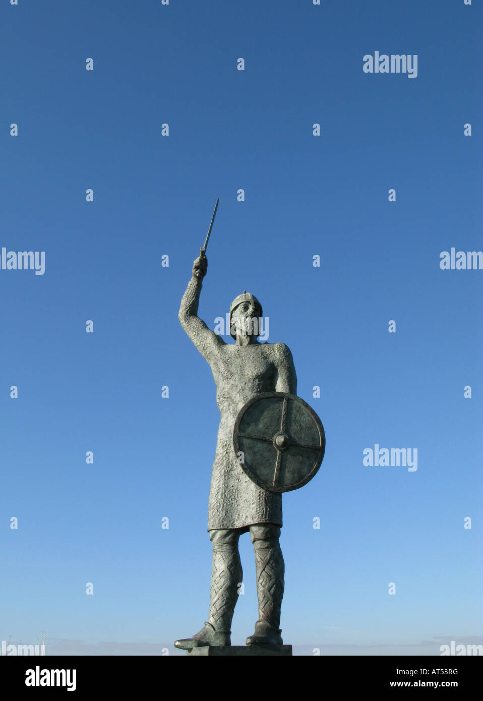 The statue of Brythnoth on the River Blackwater in Maldon Essex to commemorate the Battle of Maldon which took place - Stock Image