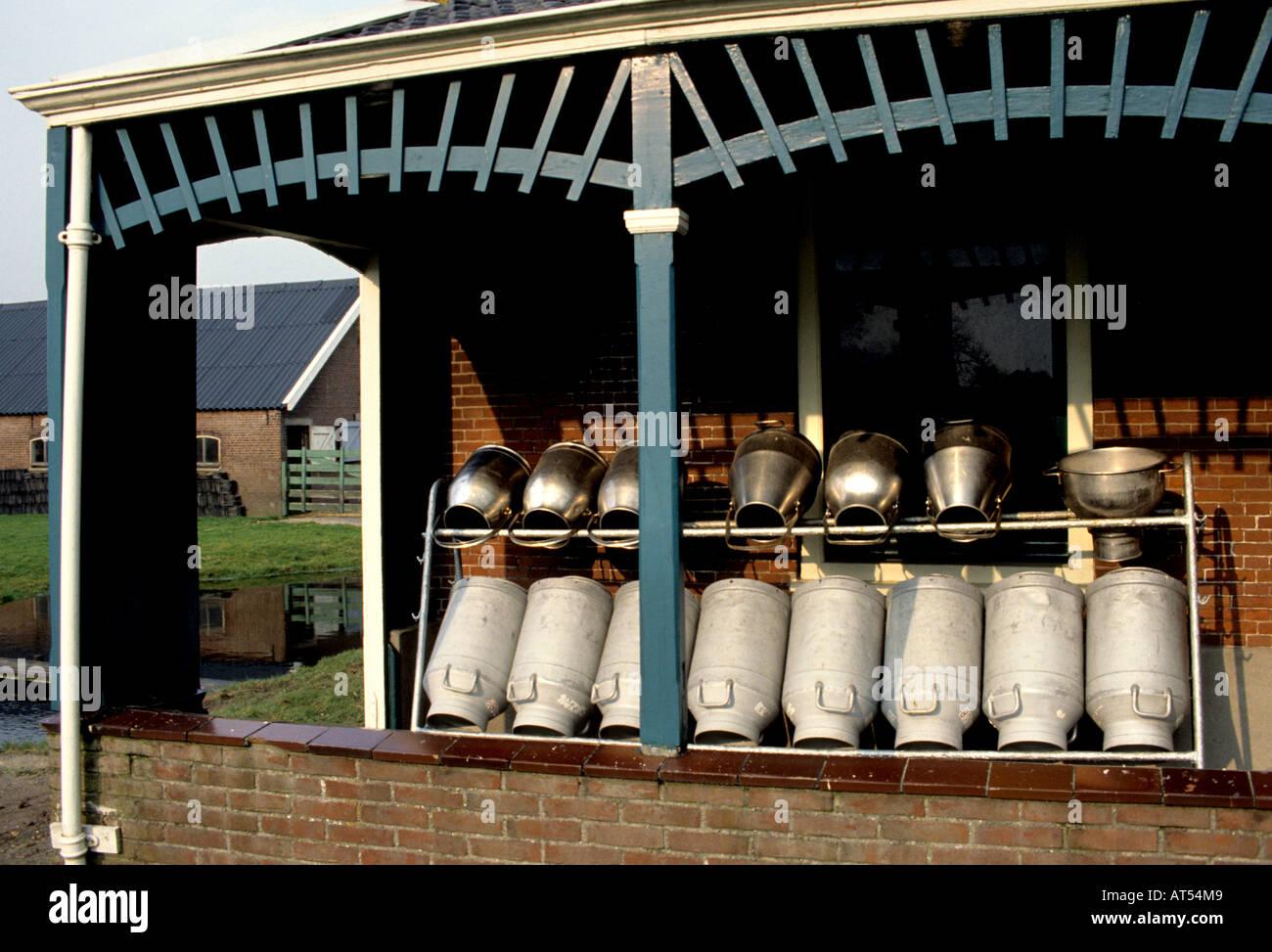 Koudekerk South Holland milk churn can churns cans dairy farm Stock Photo