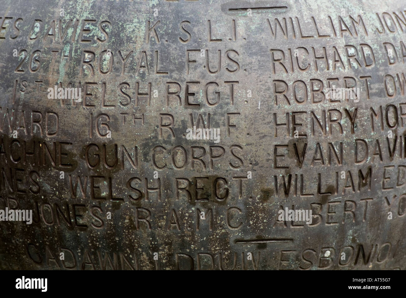 names of soldiers killed in the first world war on  a war memorial, tabernacle chapel aberystwyth ceredigion - Stock Image