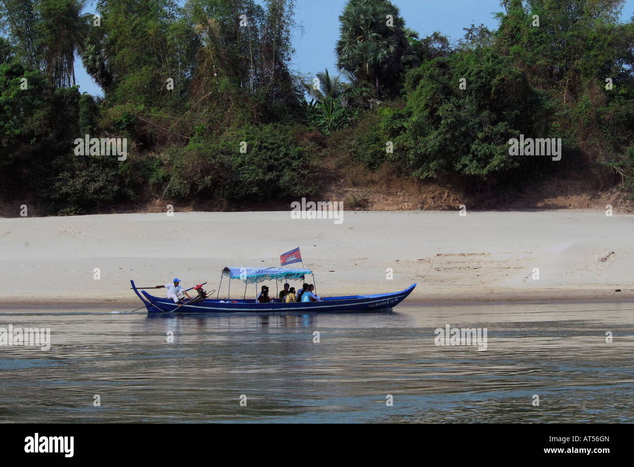 Dolphin watching boat on River Mekong at Kampi,Kratie,Cambodia - Stock Image