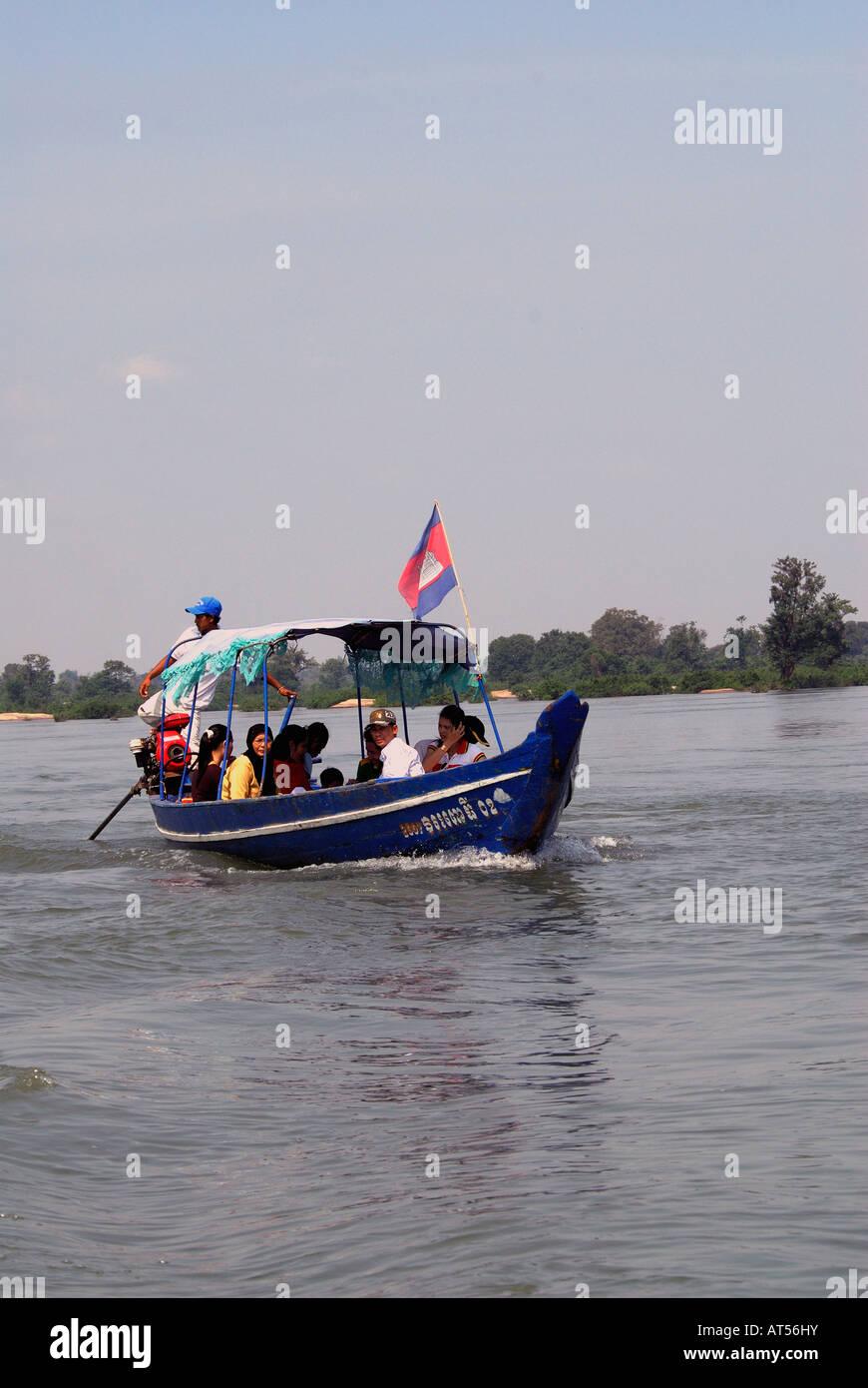 Dolphin- watching boat at Kampi,Kratie,Cambodia - Stock Image