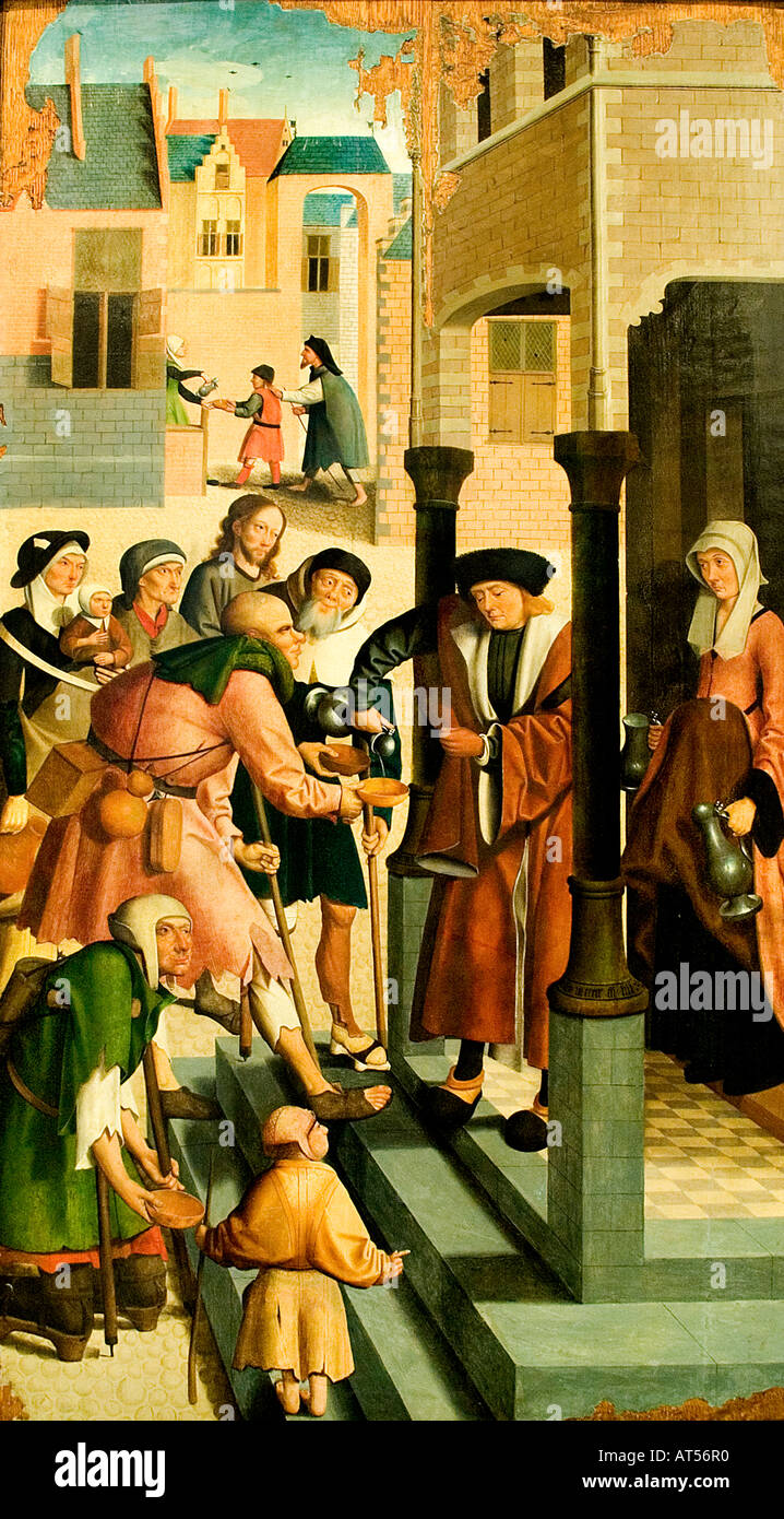 Jacob de Meester for Willem Jansz Netherlands master of Alkmaar 1500 the seven works of mercy 1504 Netherlands - Stock Image