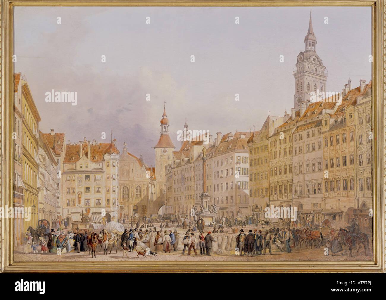 Fine Arts, Adam, Albrecht (1786   1862), Painting, Marienplatz In