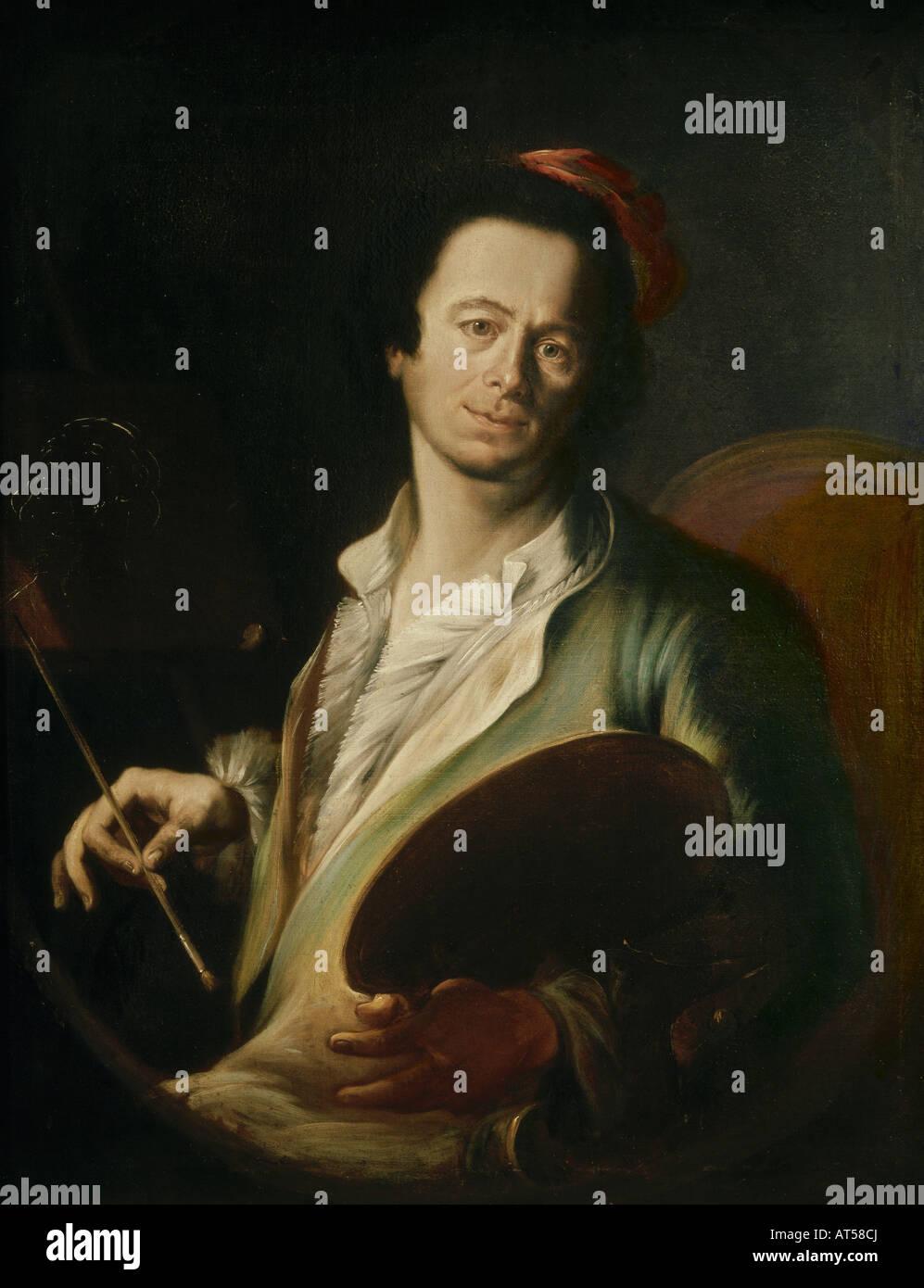 fine arts, Asam, Cosmas Damian (1686 - 1739), painting, self-portrait, 18th century, oil on canvas, Bavarian National - Stock Image