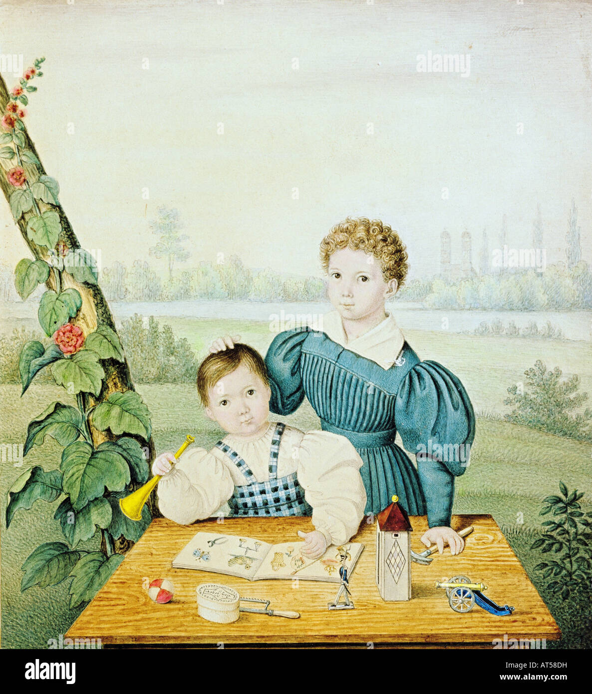 fine arts, Realism, painting, two children playing at a table,  unknown artist, circa 1835, watercolour over pencil, - Stock Image