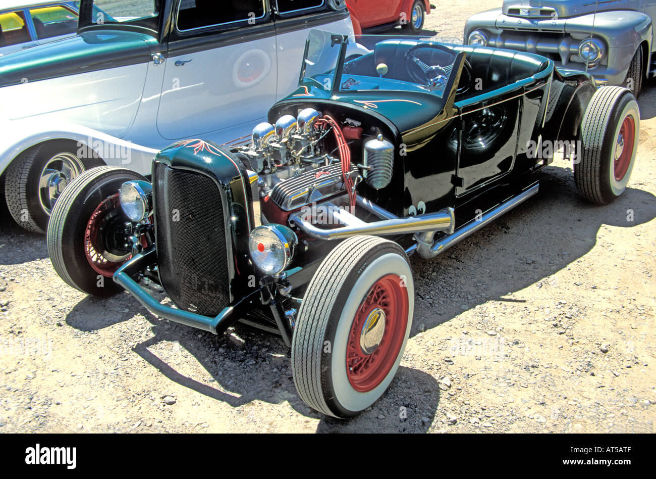 Black with red wheels open top hot rod Stock Photo: 9261326 - Alamy