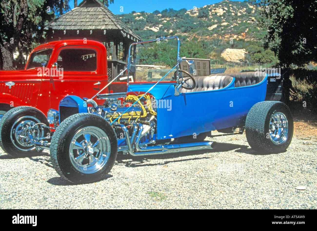 Blue V8 open top hot rod Stock Photo: 9261336 - Alamy