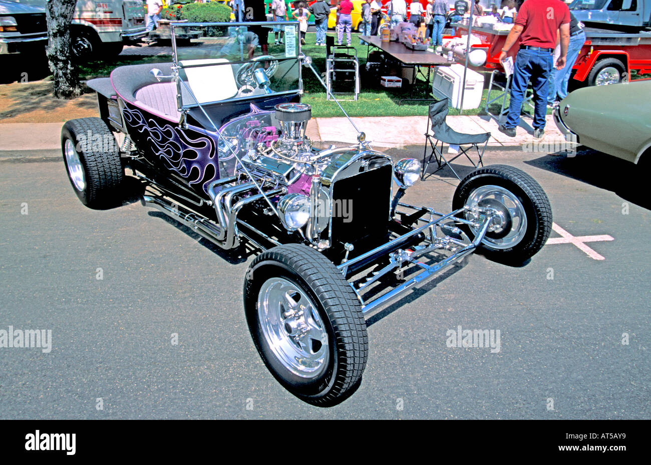 Black with purple flames V8 open top Ford hot rod Stock Photo ...