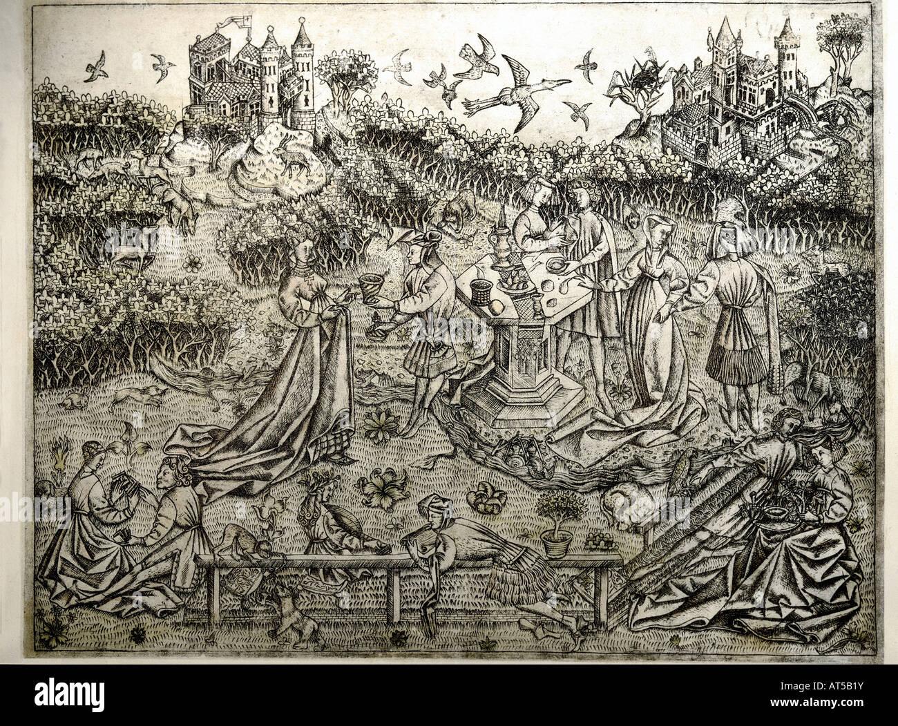 fine arts, Middle Ages, mediaeval, copper engraving, 'Der große Liebesgarten' (The big garden of love), - Stock Image