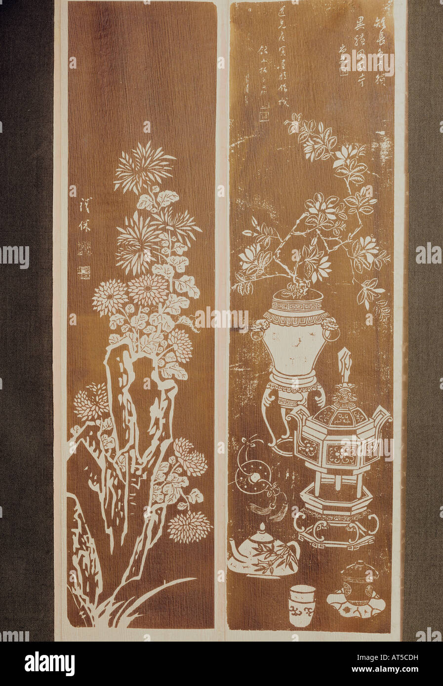 fine arts, China, stonecut, still lifes, left: based on painting by Tsen Huan, circa 1600, height 130 cm, right: - Stock Image