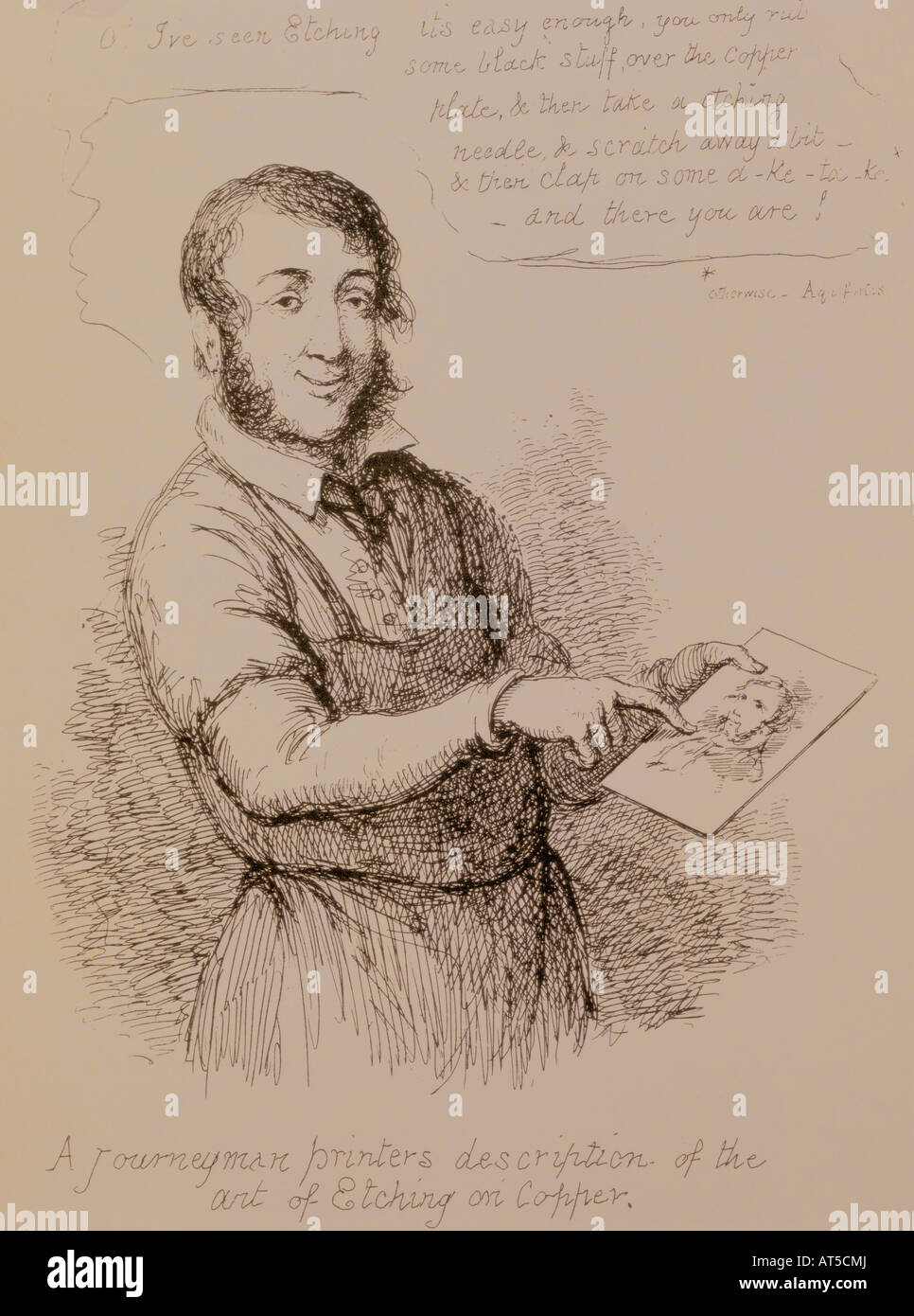 fine arts, Cruikshank, George (1792 - 1878), graphic, etching, self-portrait with copper plate, London, 1859, private - Stock Image