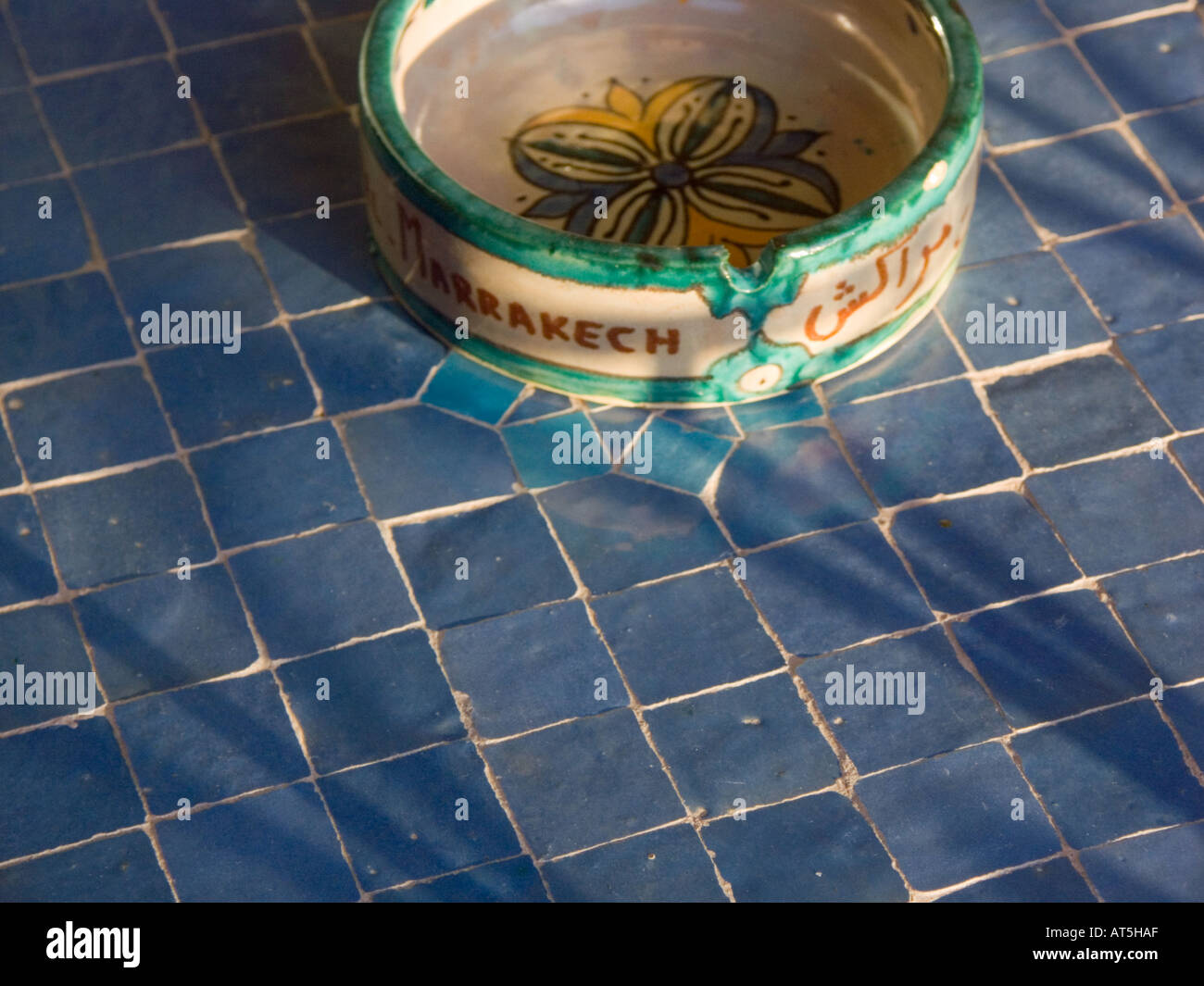 Morocco traditional blue ceramic tiles and local pottery welcome ...