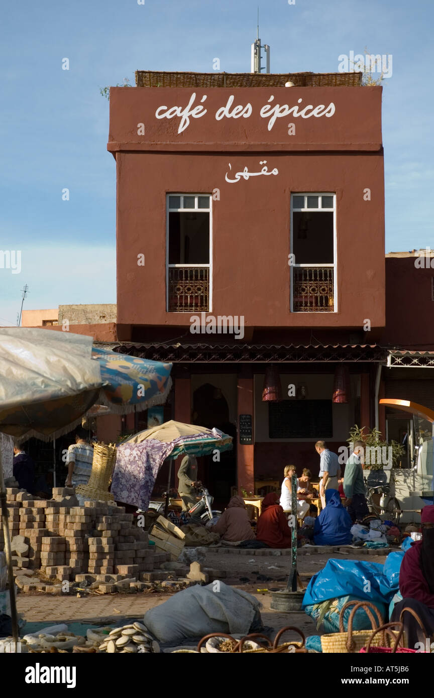 Morocco Cafe Des Epices Marrakech Jemaa El Fna Square Stock