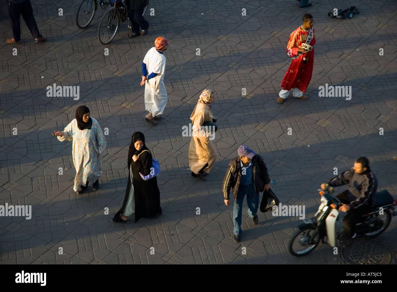 Morocco Jemaa el Fna Square Marrakech evening - Stock Image