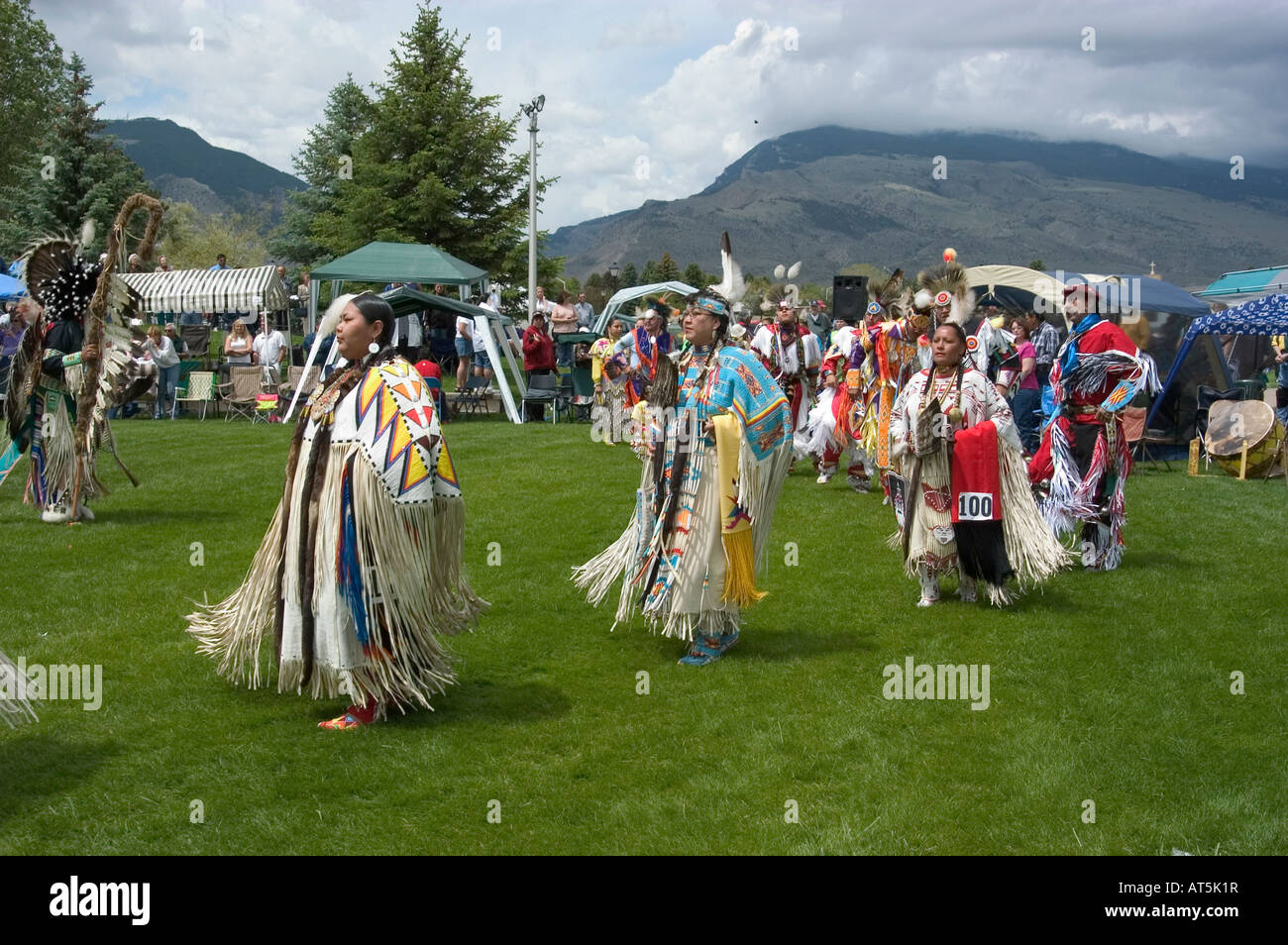 WY Wyoming Cody Dancing at Plains Indian June Powwow Native American Old West western history tribes tribal American - Stock Image