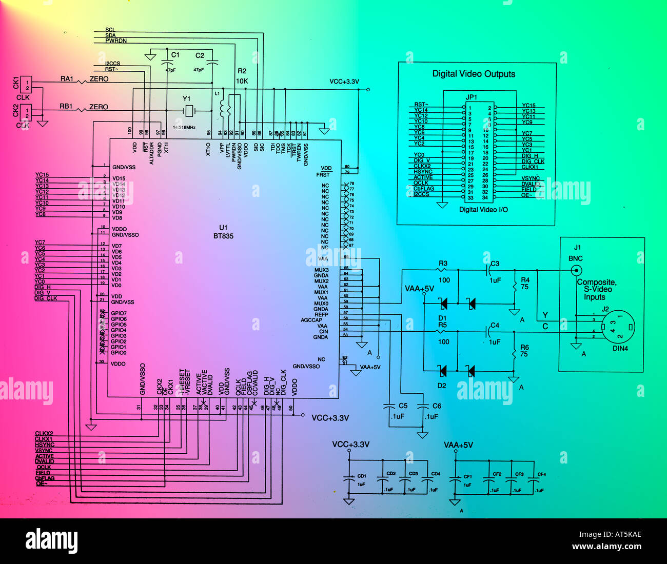 computer monitor displaying technical electronic schematic of ...