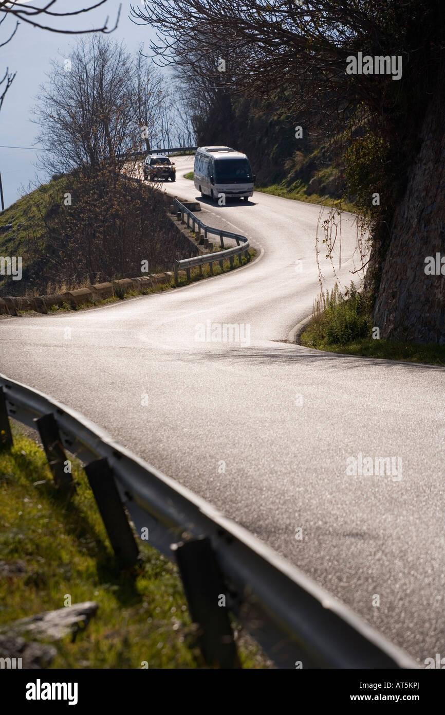 secondary road. curves Stock Photo