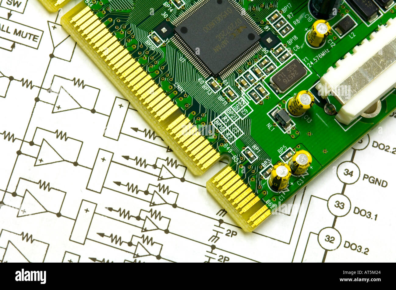 circuit board and schematic drawing of an electronic plan Stock ...