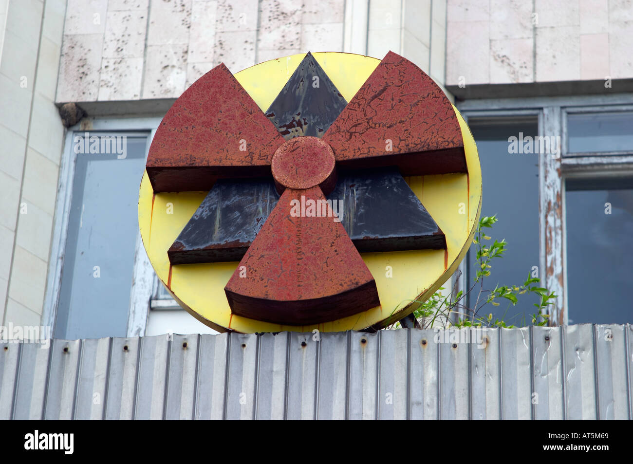 a radiation sign in Prypiat (Chernobyl), Ukraine. 19 years after the tragedy. - Stock Image