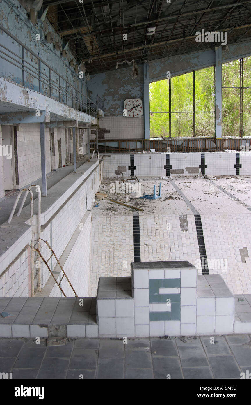 a city's swimming pool in Prypiat (Chernobyl), Ukraine. 19 years after the tragedy. - Stock Image