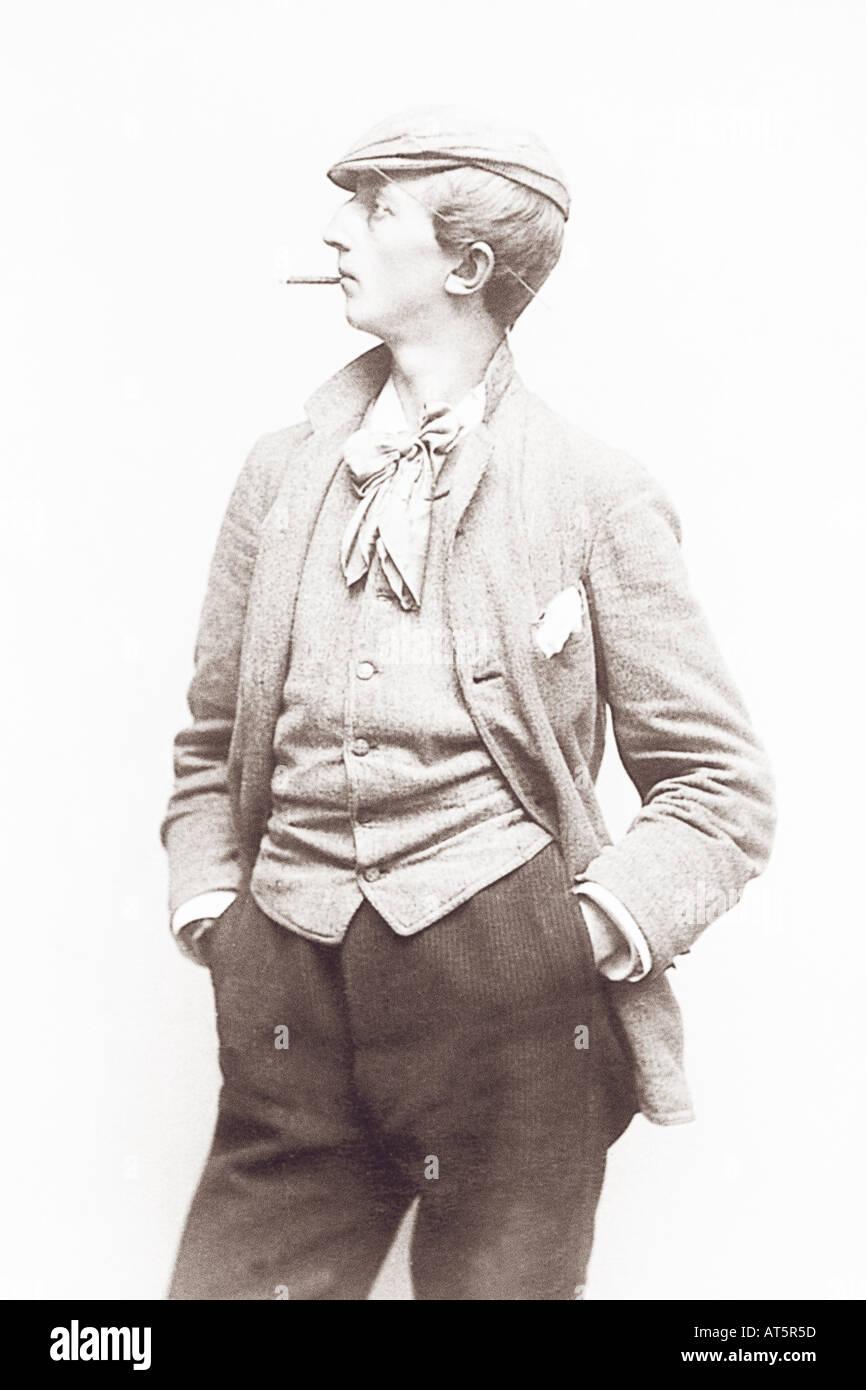 Volksbilder Raucher 1900 - Stock Image