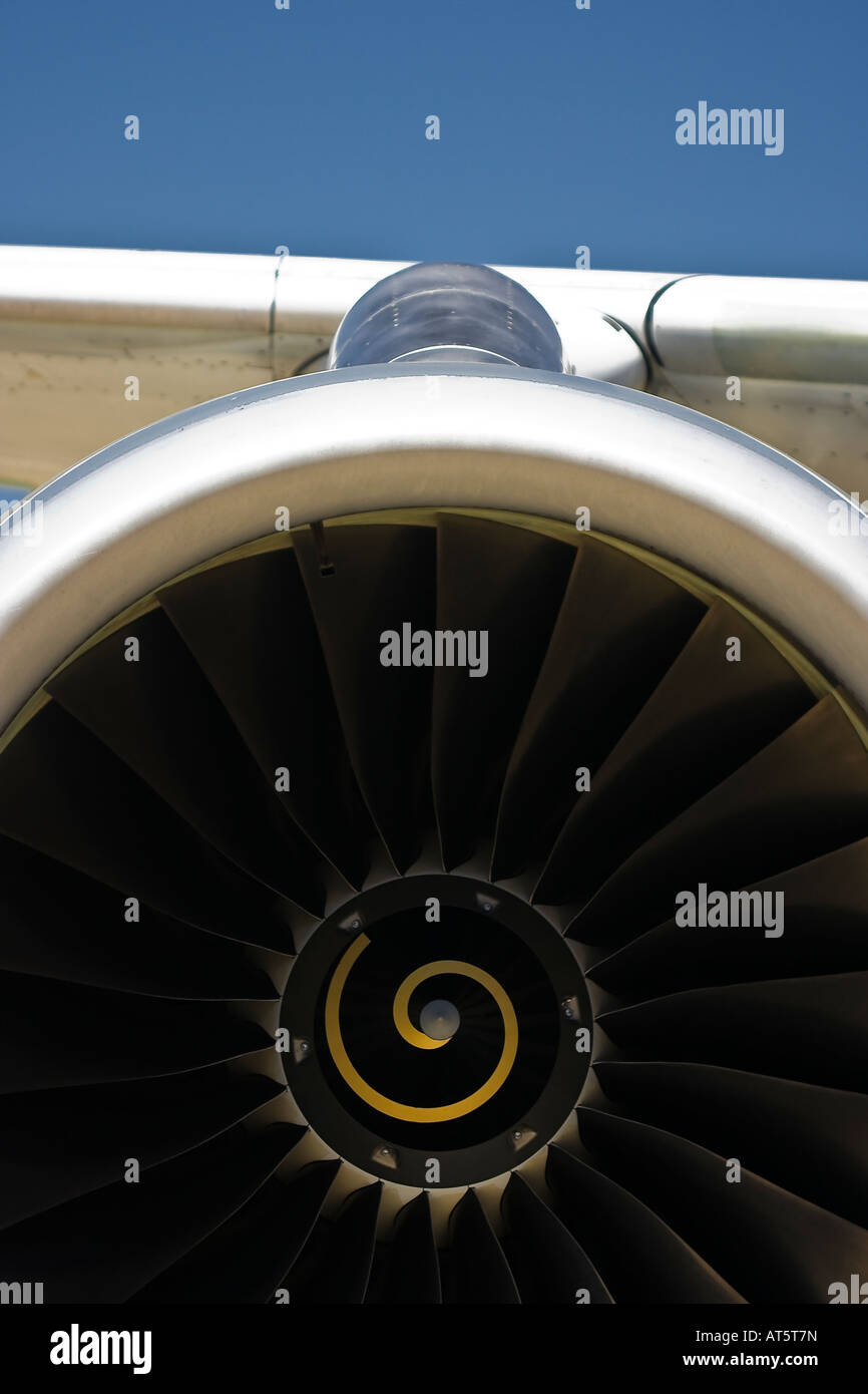 Closeup of the jet air intake of an IAE V2500 turbofan engine powering an Airbus A320 - Stock Image