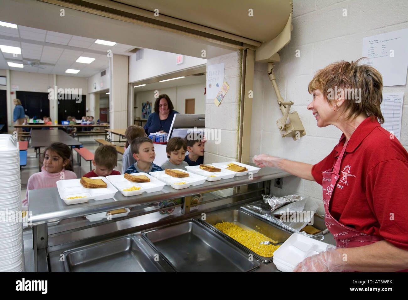 Dearborn Michigan Debra Sabaugh in the cafeteria at Lindbergh Elementary School - Stock Image