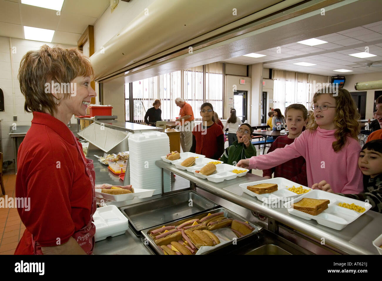 elementary school cafeteria. Dearborn Michigan Debra Sabaugh In The Cafeteria At Lindbergh Elementary School - Stock Image H