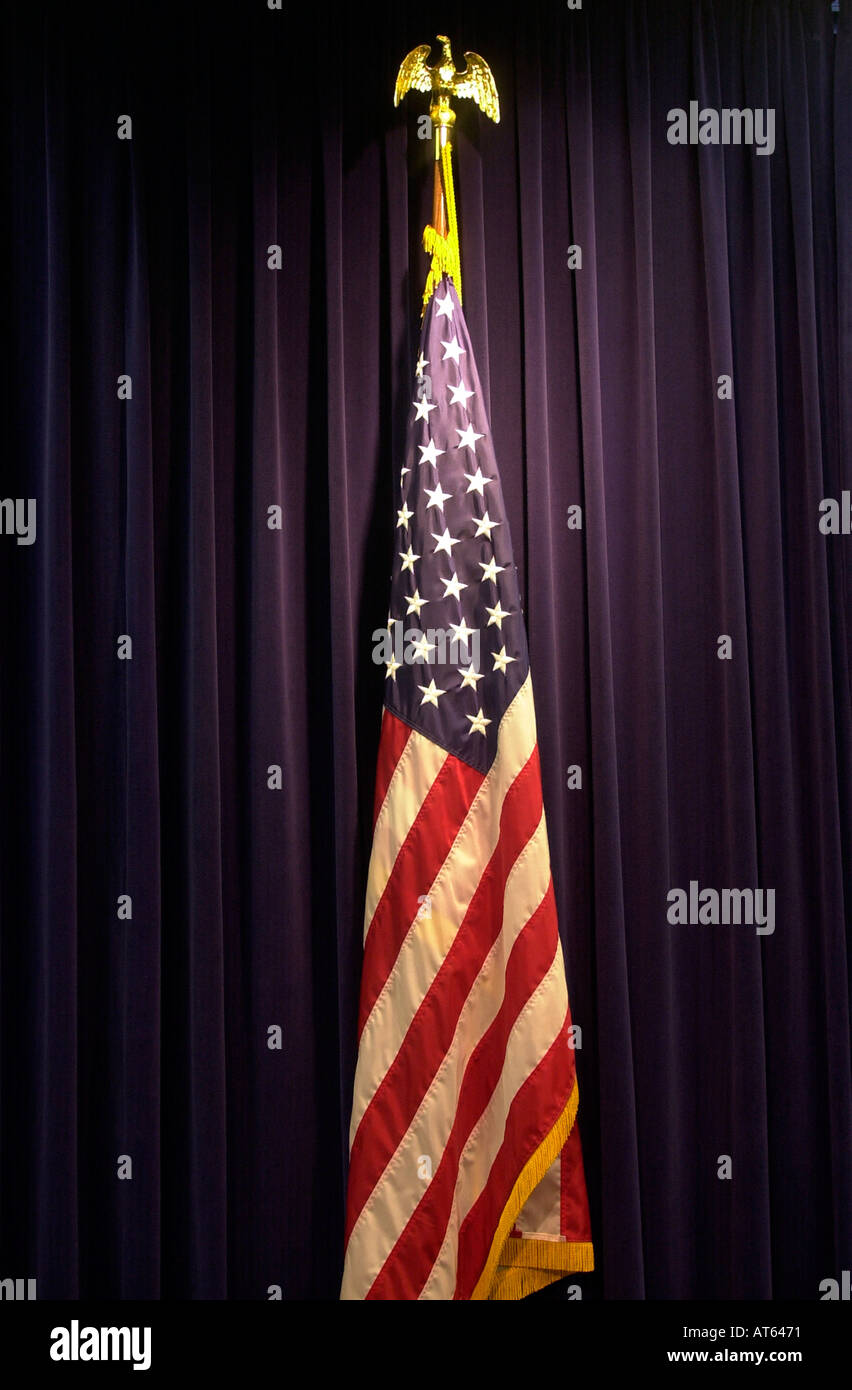 American flag displayed in an office  - Stock Image