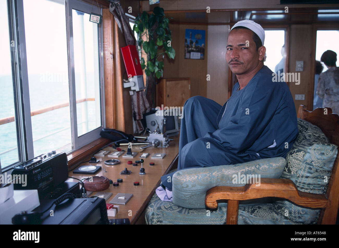 The Captian of MS Prince Abbas, a cruiser on Lake Nasser, Egypt. Upper Egypt / Nubia, Egypt. - Stock Image