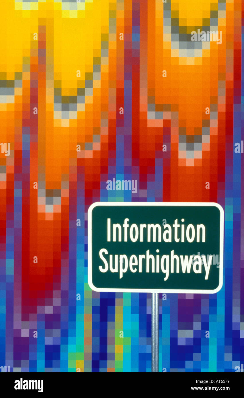 Information Superhighway sign in digital space - Stock Image