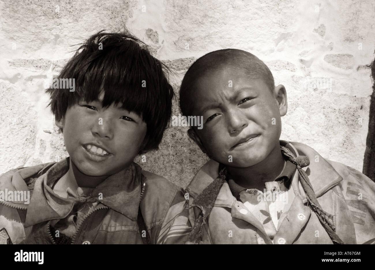 Tibetan boys, Lhasa - Stock Image
