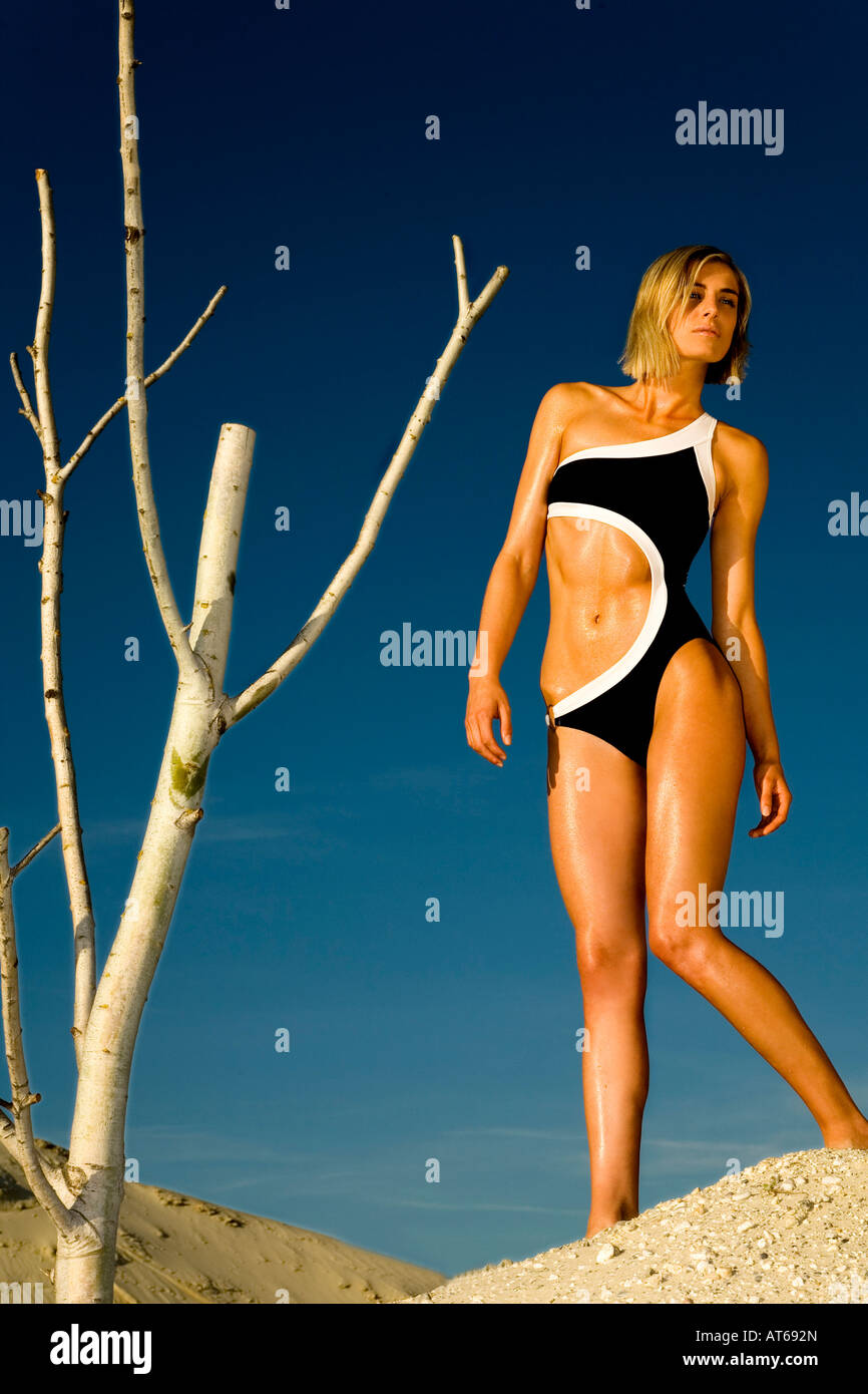 Woman wearing bathing suit - Stock Image