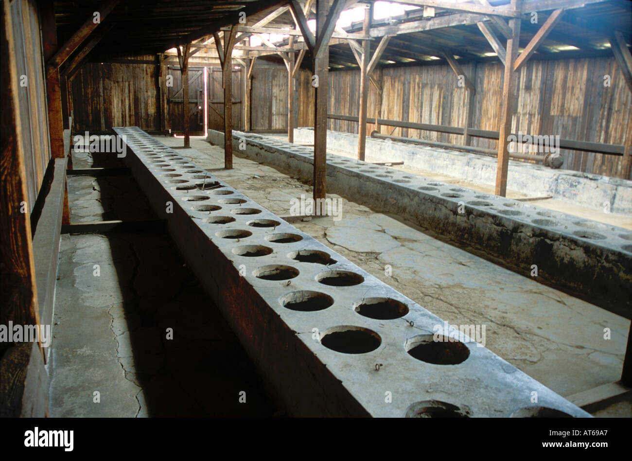Group toilets at Birkenau near Auschwitz Nazi death camp site of the Jewish Holocaust during World War Two 2 - Stock Image