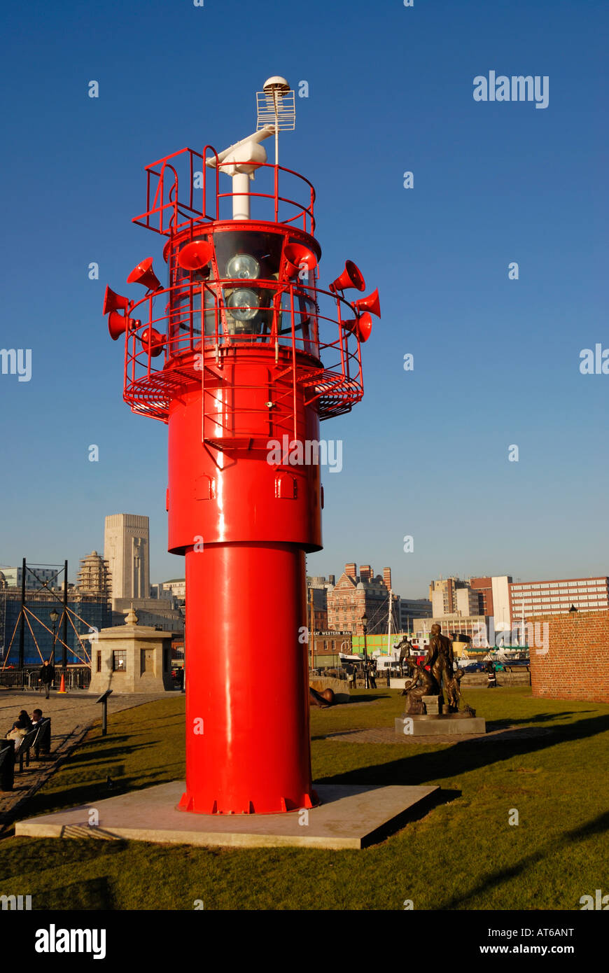 Light beacon with foghorns situated on Albert Dock beside the River Mersey, Liverpool. - Stock Image