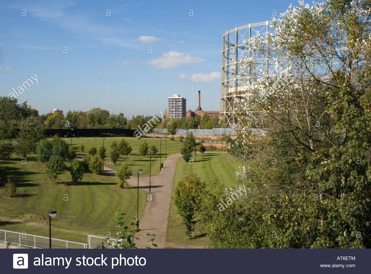Parkland close to Eastlands, East Manchester UK - Stock Image