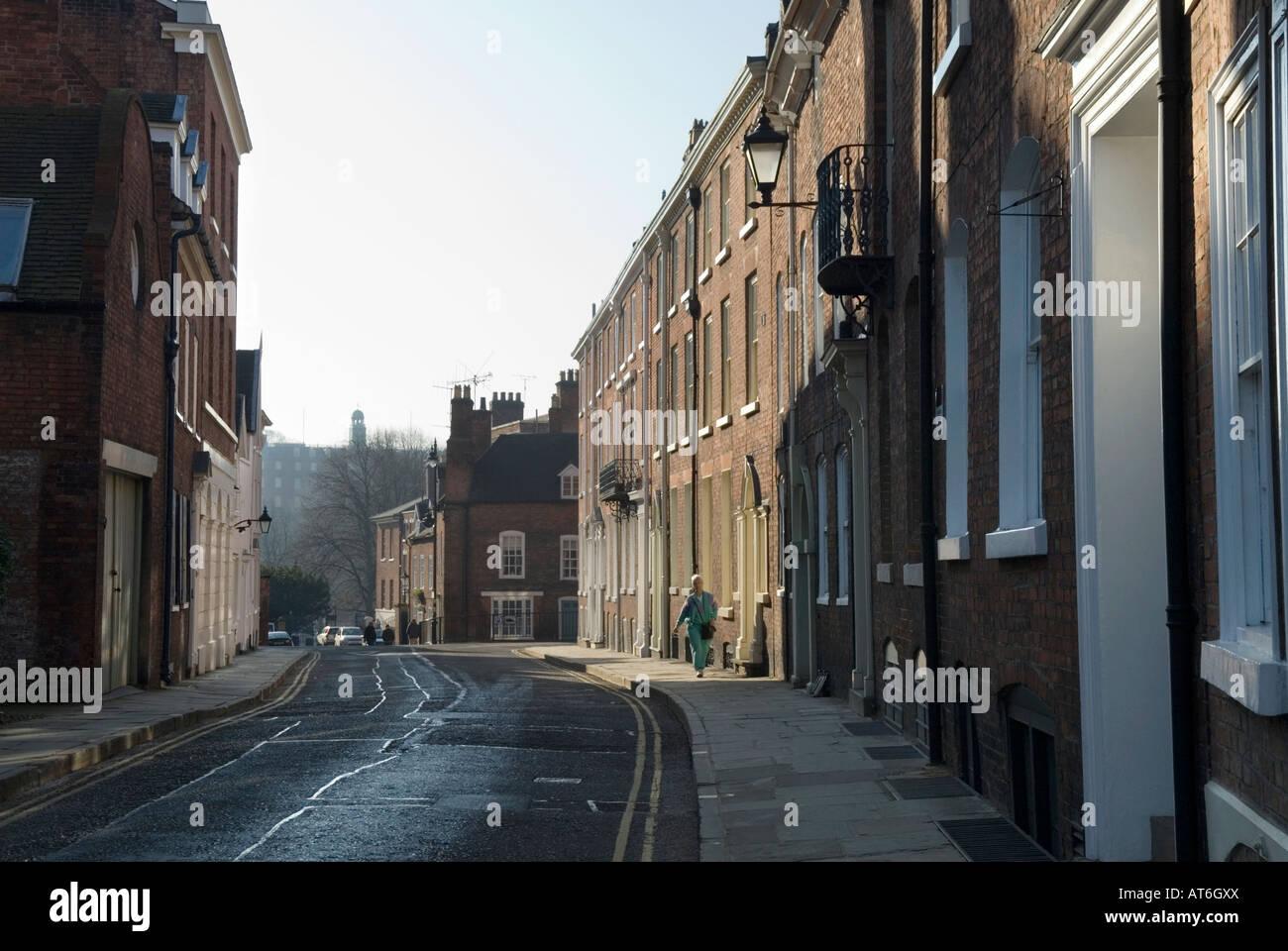 St John's Hill, looking towards Shrewsbury School, Shrewsbury, Shropshire - Stock Image