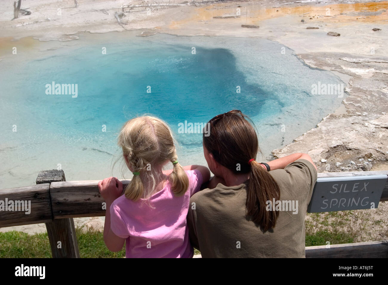 The water is scalding in Silex Spring in Lower Geyser Basin hot springs in Yellowstone National Park, WY. Stock Photo