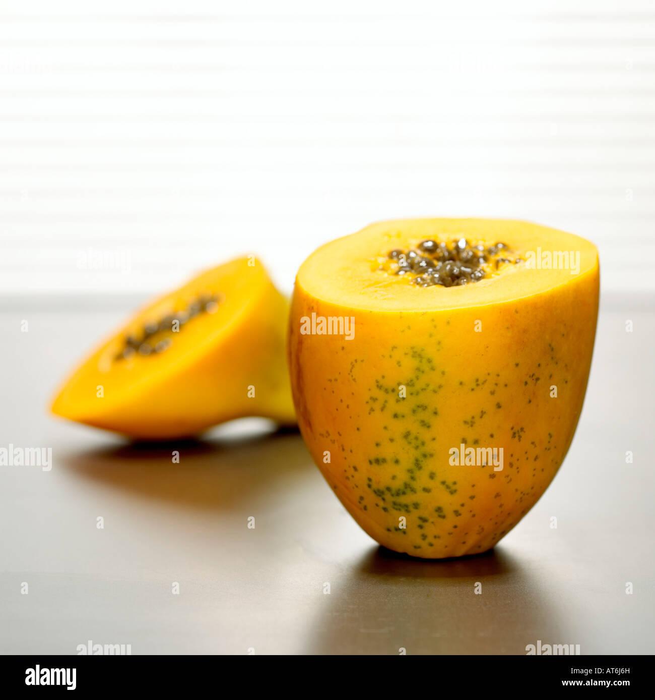Sliced papaya, close-up - Stock Image