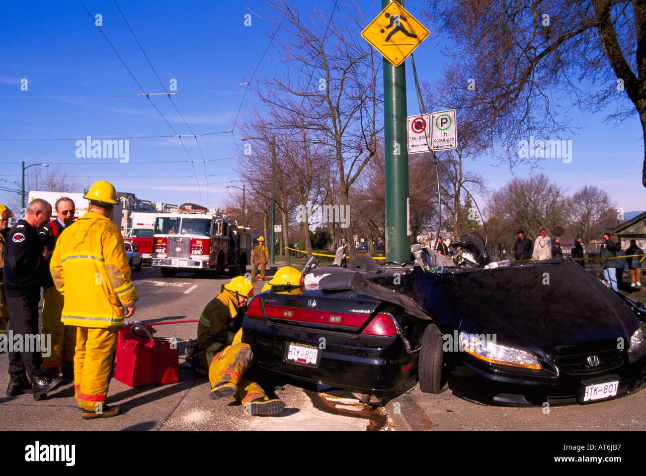 Police investigate Fatal Car Crash Traffic Accident Scene of ...