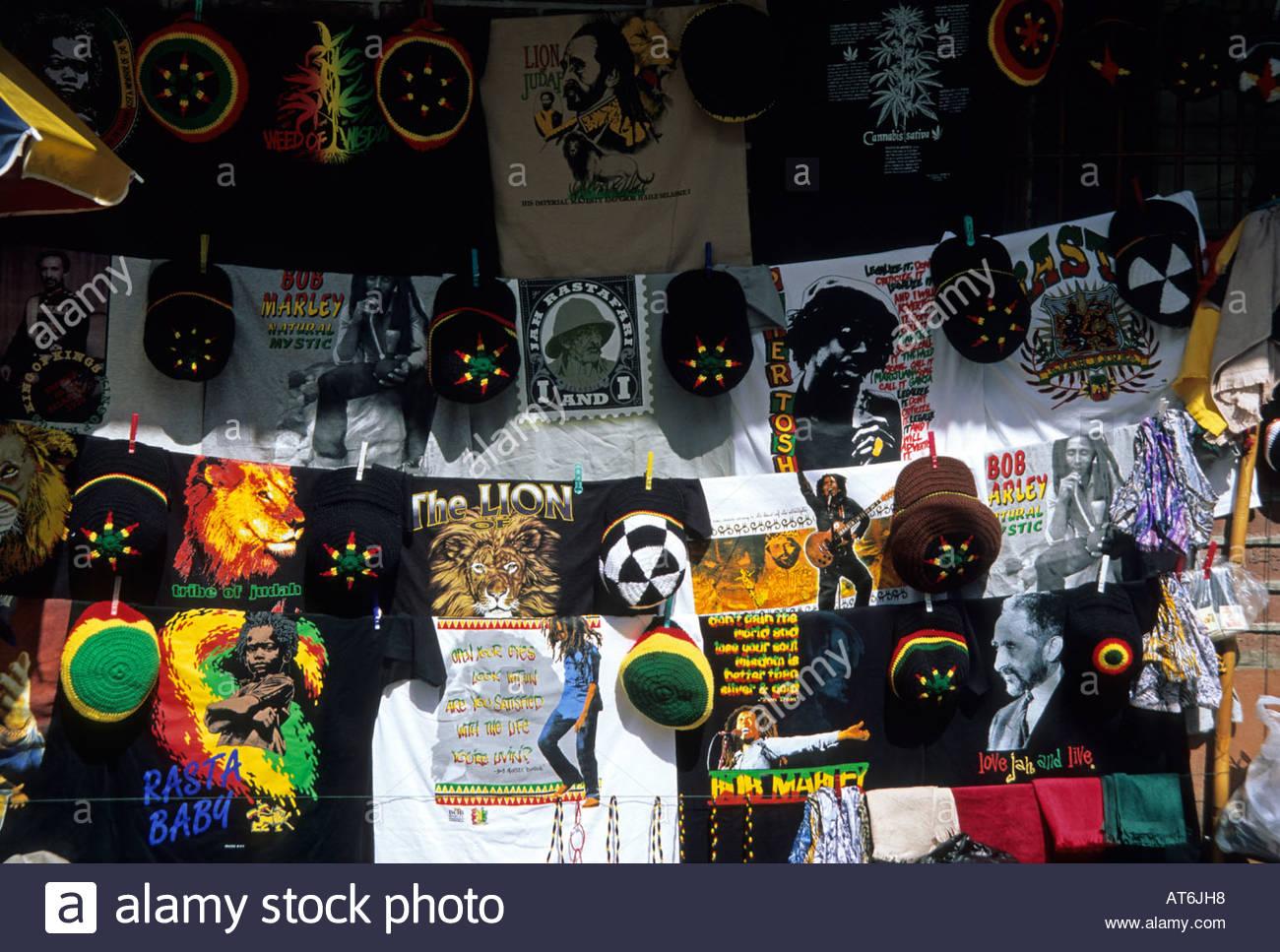 Reggae clothing on sale Sosua Dominican Republic Caribbean - Stock Image