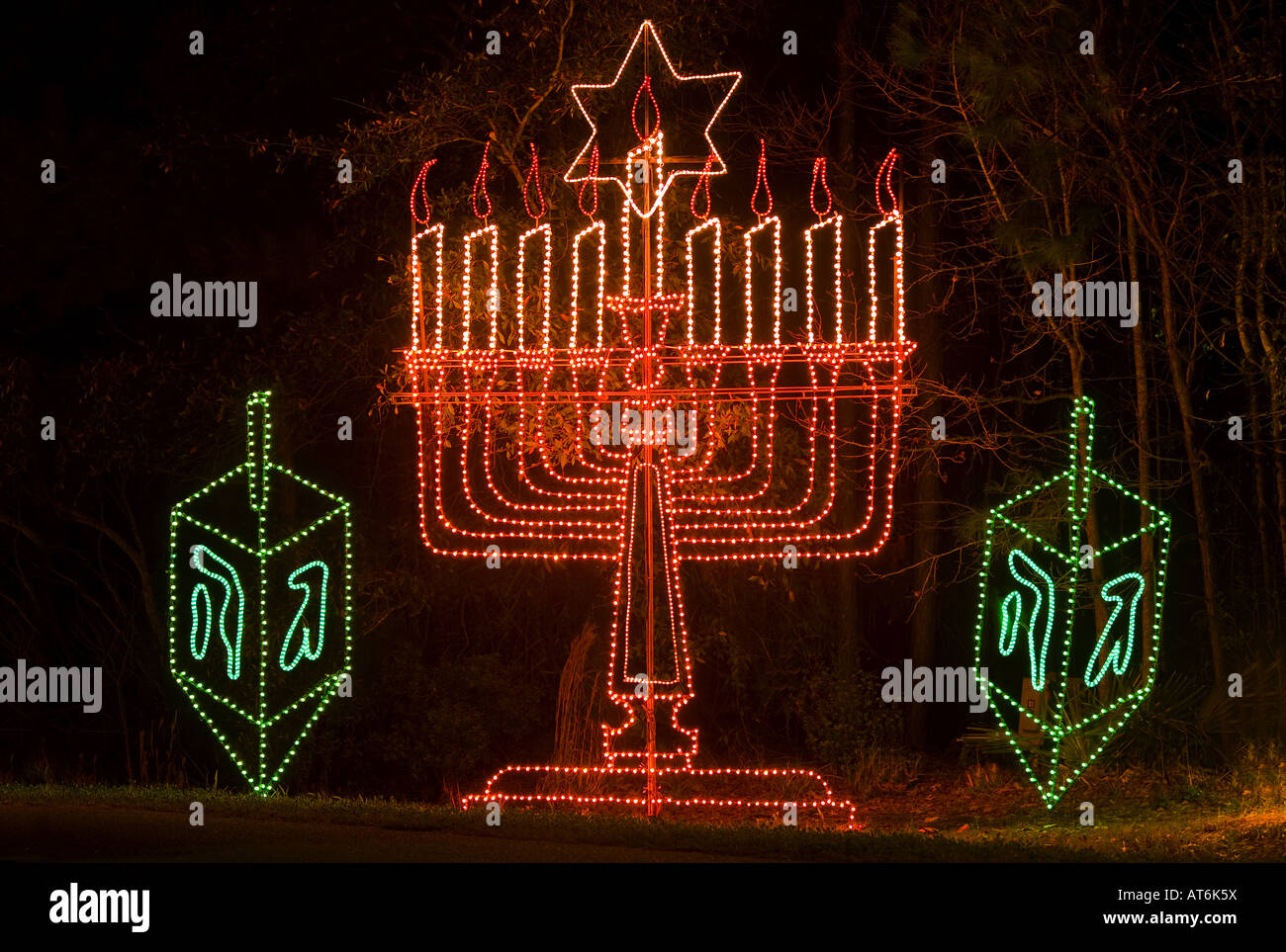 Chanukah menorah defined in lighting - Stock Image