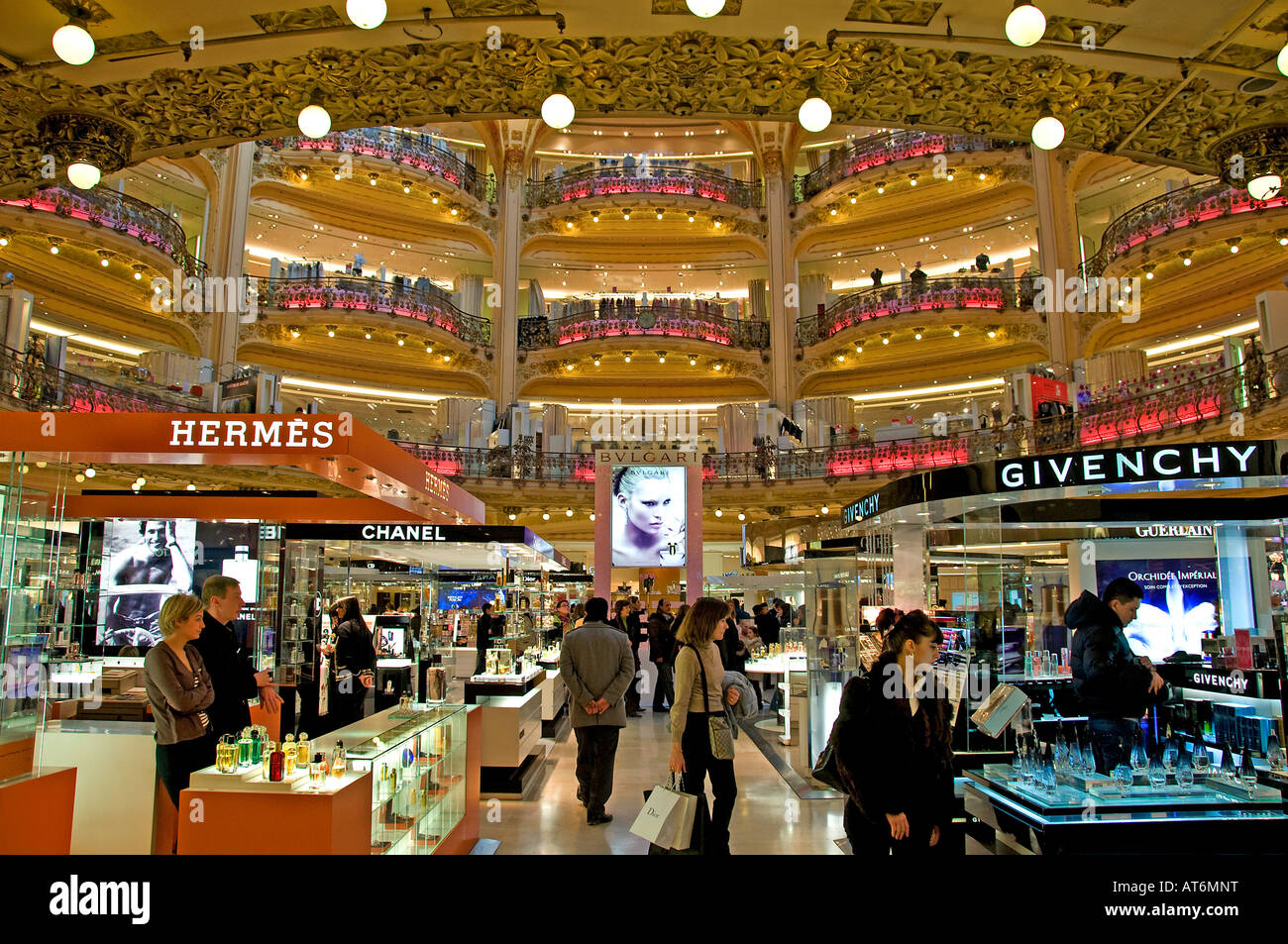 Galeries Lafayette Paris Hermes Givenchy Chanel Bvlgari Stock Photo ... 8df3082adb0