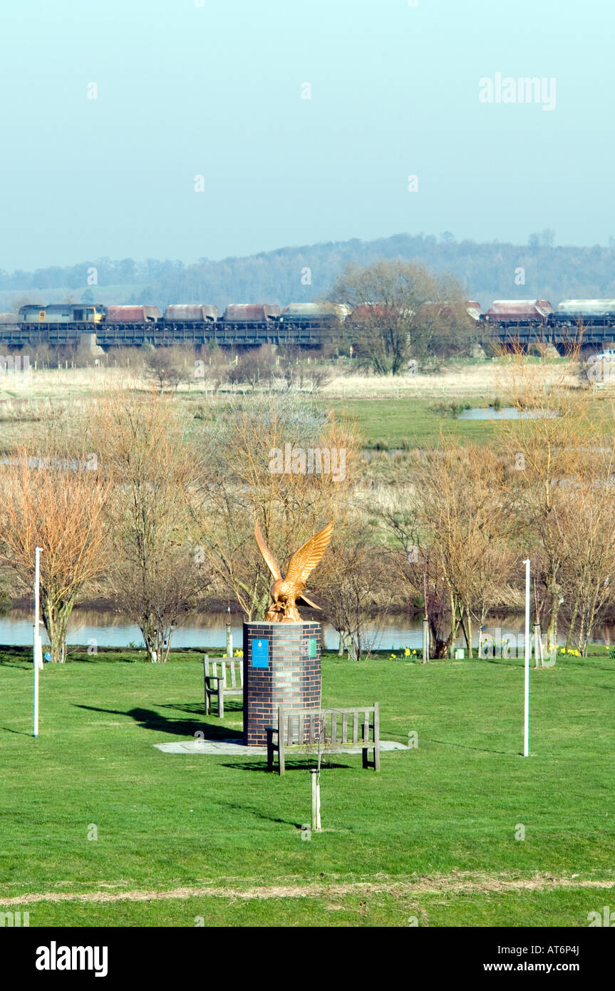 The National Memorial Arboretum and Derby to Tamworth rail line in Staffordshire 'Great Britain' - Stock Image