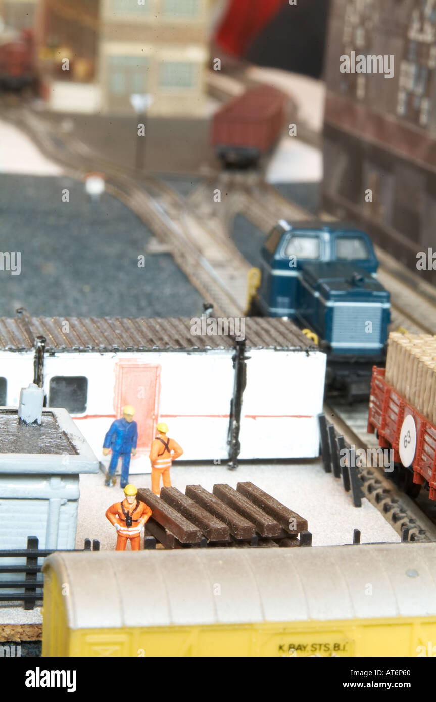 train set model railway scale toy trainset enthusiast hobby small electric train set model railway scale toy trainset Stock Photo